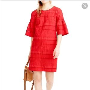 J.Crew Red Flutter Sleeve Eyelet Shift tunic Dress